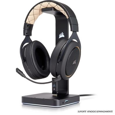Headset Gamer Corsair HS70 Wireless Carbono, 7.1 Surround, Gold - CA-9011178-NA