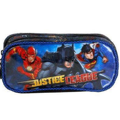 Mochila Escolar Liga da Justiça Heroes United Xeryus de Rodinhas com Lancheira e Estojo Tam G