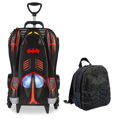 Mochila Escolar Masculina Batman Chrome Wheels com Lancheira MaxToy