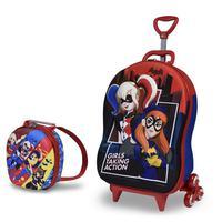 Mochila Escolar 3D com Rodinhas e Lancheira MaxToy Super Hero Batgirl Harley Quinn