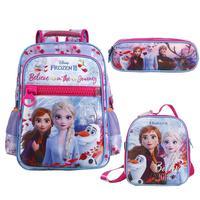 Mochila Escolar De Costa Dermiwil Frozen 2 com ,Lancheira e Estojo Tam G