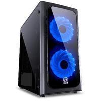 Gabinete Mid-Tower Venus Preto Com 2 Fans Led Azul Lateral Em Acrílico - Venptaz2fca