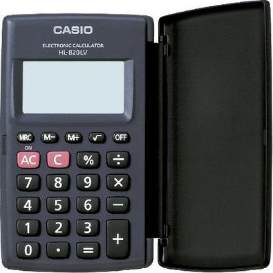 Calculadora De Bolso 8 Dígitos Hl-820Lv-Bk-S4-Dp Preta, Com Tampa Abre E Fecha