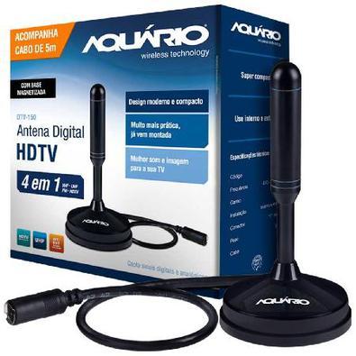 Antena Digital Hdtv 4 Em 1 Vhf/Uhf/Fm/Hdtv Uso Interno Ou Externo Com Cabo 5 Metros Dtv-150