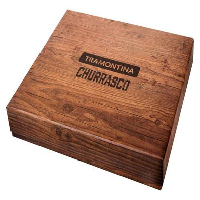 Kit para Churrasco Tramontina Lâminas Aço Inox e Cabos em Madeira Polywood Castanho 15 Peças Tramontina