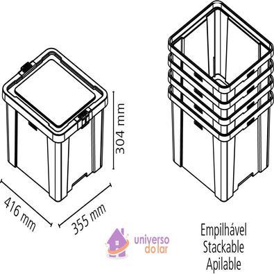 Caixa Organizadora 30L Rosa Basic Tramontina
