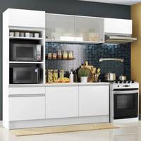 Cozinha Completa Madesa Topazio com Armário, Balcão e Tampo Branco Cor:Branco