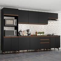 Cozinha Completa Madesa Reims 320002, com Armário e Balcão, Preto