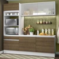 Cozinha Compacta Madesa Topazio com Balcão e Tampo Branco/Rustic Cor:Rustic