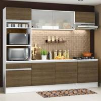 Cozinha Completa Madesa Topazio com Armário, Balcão e Tampo Branco/Rustic Cor:Rustic