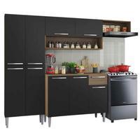 Cozinha Compacta Madesa Emilly Top com Armário e Balcão  Rustic/Preto Cor:Rustic/Preto