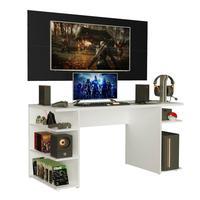Mesa Gamer Madesa e Painel para TV até 50 Polegadas, Branco/Preto