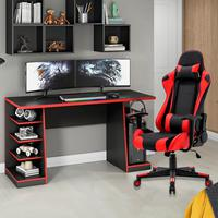 Kit Bela Cadeira Gamer MoobX GT Racer Profissional + Mesa Gamer XP, Preto/Vermelho