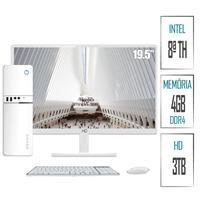 Computador Skill SlimPC Intel G4930 8ª Geração, 4GB, DDR4, HD 3TB,  Intel UHD 610, Monitor 19.5´, LED, HDMI, Branco