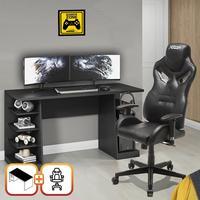 Kit Bela Cadeira Gamer MoobX Fire Profissional Deluxe + Mesa Gamer XP