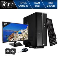 Mini Computador ICC SL2387Km15 Intel Core I3 8gb HD 240GB SSD Kit Multimídia Monitor 15