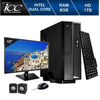Mini Computador Icc Sl1882km15 Intel Dual Core 8gb HD 1tb Kit Multimídia Monitor 15