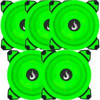 Kit com 5 Cooler Fan Rise Mode Galaxy G1 com Led, 120mm, Verde