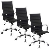 Conjunto com 3 Cadeiras Presidente Boston Giratória Esteirinha com Regulagem de Altura