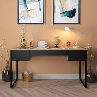 Mesa Para Escritório Diretor Estilo Industrial Com 3 Gavetas   Tam: 150x60cm   Cor: Lâmina Dourada Com Preto   Mod: Davi
