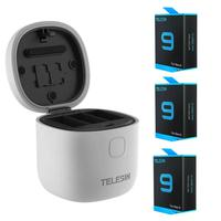 Carregador Triplo para GoPro Hero 9 e 10 Black + 3 Baterias Extras - Telesin