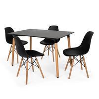 Kit Mesa Jantar Eiffel 120x80cm Preta + 4 Cadeiras Charles Eames - Preta