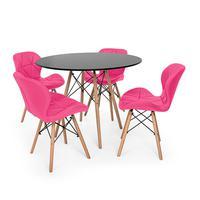 Kit Mesa Jantar Eiffel 120cm Preta + 04 Cadeiras Slim - Rosa
