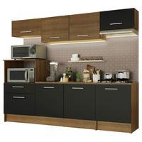 Cozinha Completa Madesa Onix 240002 com Armario e Balcão Rustic/Preto 5ZD8 Cor:Rustic/Preto/Rustic
