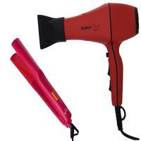 Kit - Secador Profissional Taiff Style Red 2000w 220v + Prancha Gama Bella Pro Ceramic 210ºc Biv