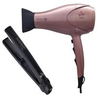Kit gama - secador cabelo keration 3d pro 2200w 127v + chapinha eleganza infinity one 220graus bv