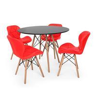 Kit Mesa Jantar Eiffel 80cm Preta + 04 Cadeiras Slim - Vermelha