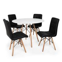 Kit Mesa Jantar Eiffel 90cm Branca + 04 Cadeiras Gomos - Preta