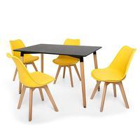 Kit Mesa Jantar Eiffel 120x80 Preta + 04 Cadeiras Leda - Amarela