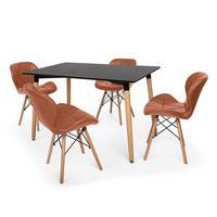 Kit Mesa Jantar Eiffel 120x80cm Preta + 04 Cadeiras Slim - Marrom