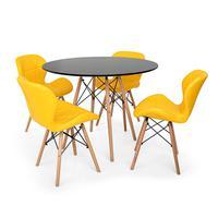 Kit Mesa Jantar Eiffel 80cm Preta + 04 Cadeiras Slim - Amarela