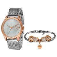 Kit Relógio Feminino Lince Analógico Prata - Lrt4673l-kn08b1s - Unico