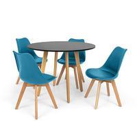 Conjunto Mesa De Jantar Laura 100cm Preta Com 4 Cadeiras Eames Wood Leda - Turquesa