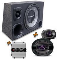 Kit Caixa Trio Sub Pioneer + 6x9 Pioneer +  Modulo Tl1500 Kit Caixa Trio Sub Pioneer + 6x9 Pioneer + Modulo Tl1500