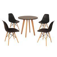 Mesa Laura 80cm Preta + 4 Cadeiras Eames Eiffel - Preta