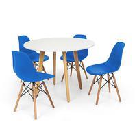 Conjunto Mesa De Jantar Laura 100cm Branca Com 4 Cadeiras Charles Eames - Azul