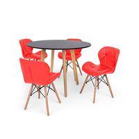 Conjunto Mesa De Jantar Laura 100cm Preta Com 4 Cadeiras Eames Eiffel Slim - Vermelha
