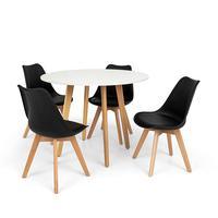Conjunto Mesa De Jantar Laura 100cm Branca Com 4 Cadeiras Eames Wood Leda - Preta