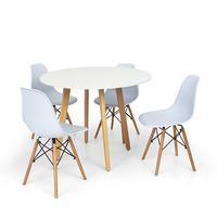 Conjunto Mesa De Jantar Laura 100cm Branca Com 4 Cadeiras Charles Eames - Branca