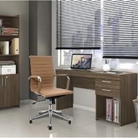Conjunto Escritório Home Office Com Escrivaninha 2 Gavetas Nogal E Cadeira Giratória Boston Caramelo