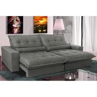 Sofa Retrátil E Reclinável 2,12m Com Molas Ensacadas Cama Inbox Soft Tecido Suede Cinza