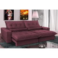 Sofa Retrátil E Reclinável 2,92m Com Molas Ensacadas Cama Inbox Soft Tecido Suede Vinho