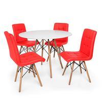 Kit Mesa Jantar Eiffel 120cm Branca + 04 Cadeiras Gomos - Vermelha