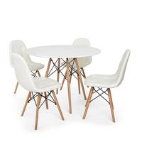 Conjunto Mesa Eiffel Branca 120cm + 4 Cadeiras Dkr Charles Eames Wood Estofada Botonê - Branca