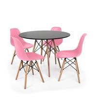 Kit Mesa Jantar Eiffel 80cm Preta + 4 Cadeiras Charles Eames - Rosa