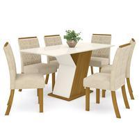 Conjunto Sala De Jantar Mesa 160cm Tampo Mdf Com Vidro 6 Cadeiras Juanita Casa 812